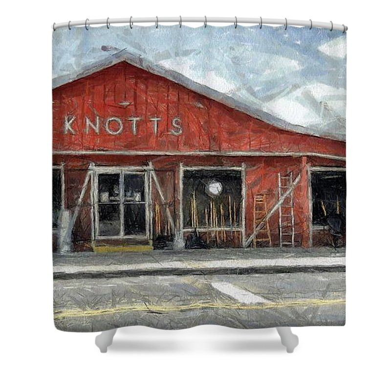Hardware Shower Curtain featuring the painting Knott's Hardware by Murphy Elliott