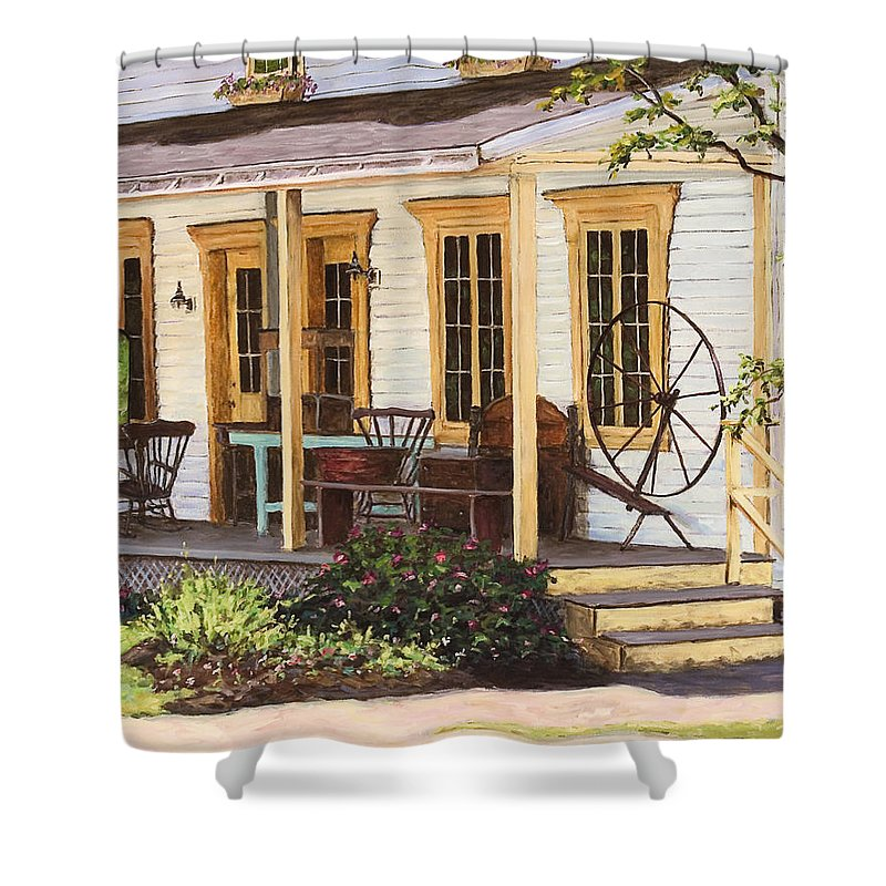 Urban Shower Curtain featuring the painting Knowlton Lac Brome by Richard T Pranke
