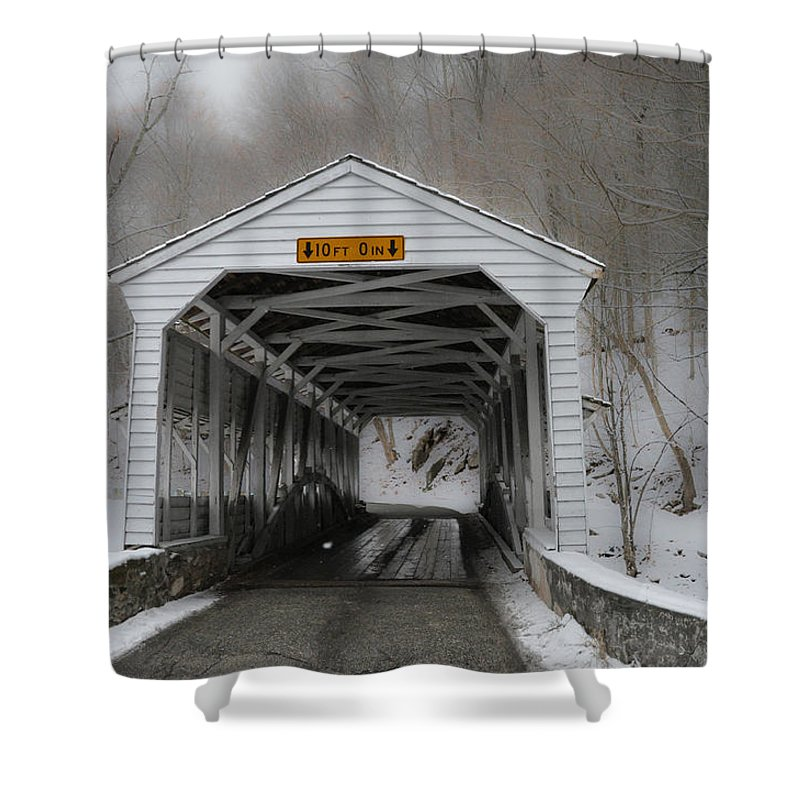 Knox Covered Bridge   Valley Forge Pa In The Snow Shower Curtain