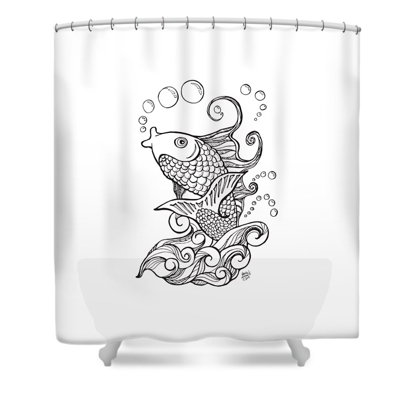 Koi Shower Curtain Featuring The Drawing Fish And Water Waves By Laura Ostrowski