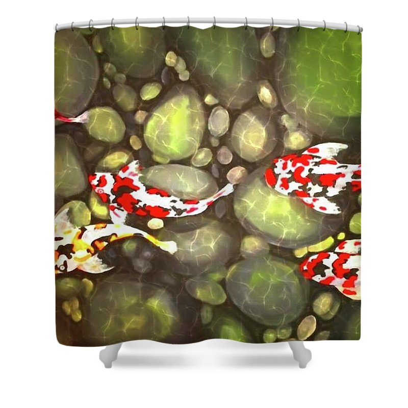 Shower Curtain featuring the painting Koi Fish by Art by Cannell Cannell