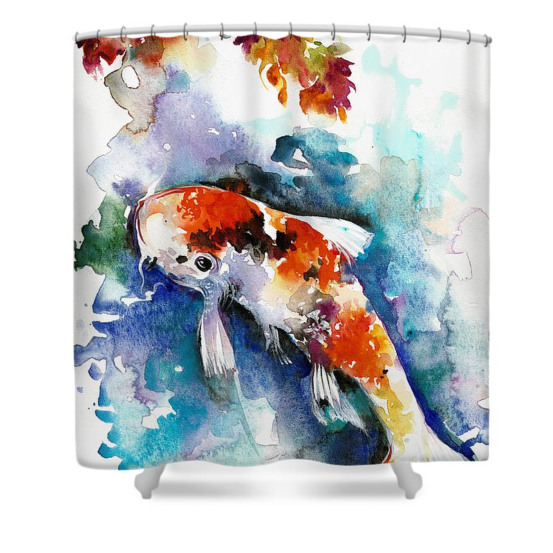 Koi Shower Curtain Featuring The Painting Fish In Pond
