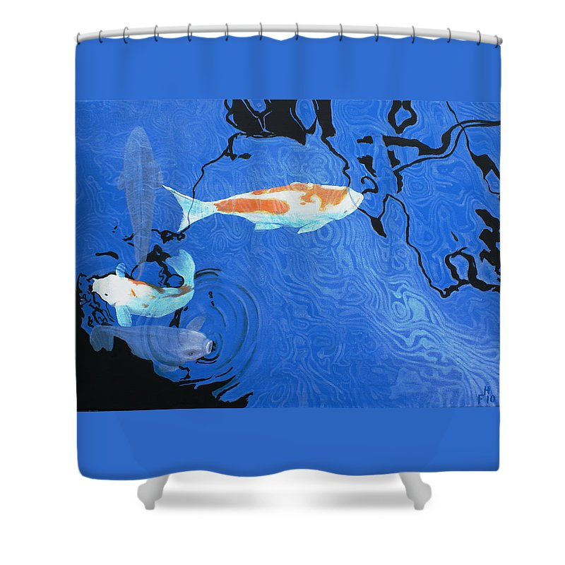 Koi Shower Curtain featuring the painting Koi by Frank Hamilton