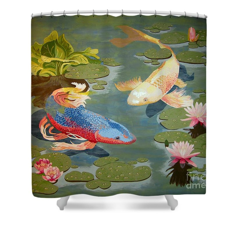 Koi Shower Curtain featuring the painting Koi II by Jennifer Donald