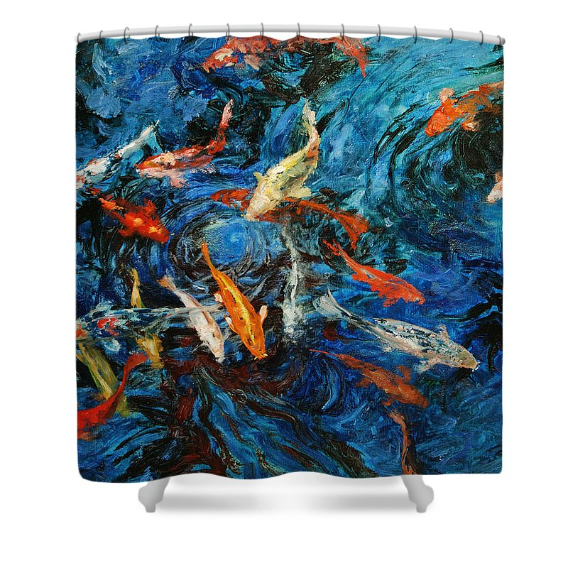 Koi Shower Curtain featuring the painting Koi IIi by Rick Nederlof