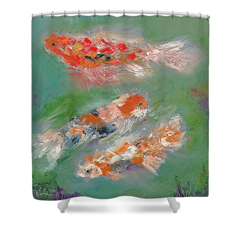 Koi Shower Curtain featuring the painting Koi by Janet Gunderson