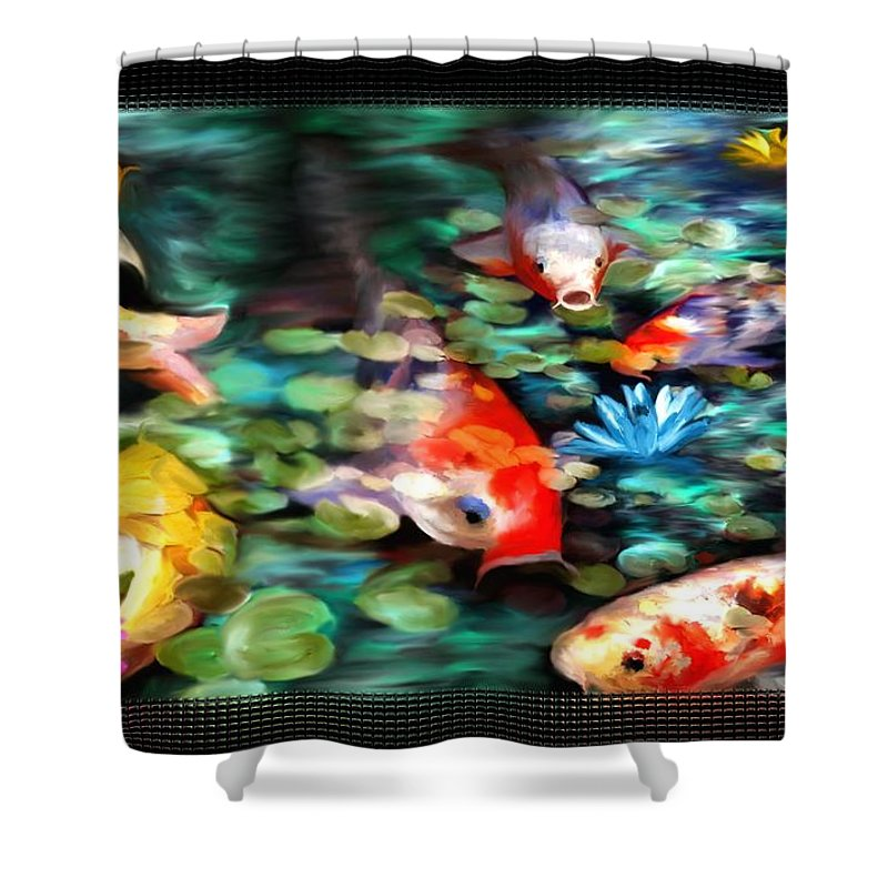 Koi Shower Curtain featuring the painting Koi Paradise by Susan Kinney