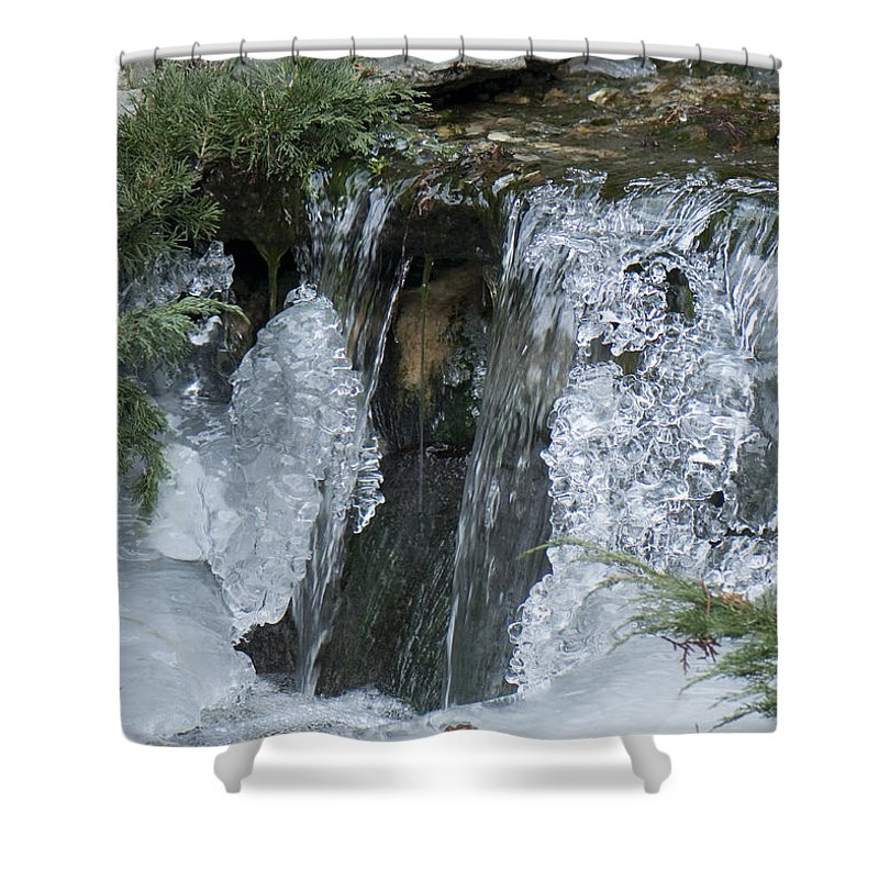 Koi Pond Shower Curtain featuring the photograph Koi Pond Waterfall by Steven Natanson