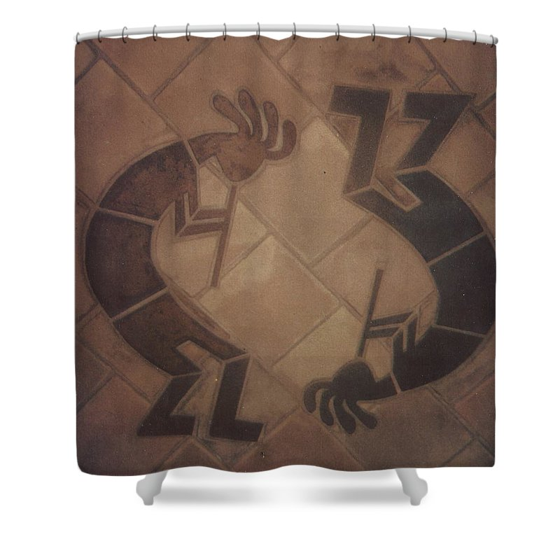 Tile Shower Curtain featuring the relief kokopelli Hand cut Tiles by Patrick Trotter