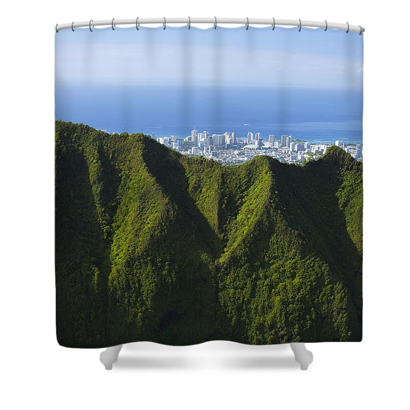 Aerial Shower Curtain featuring the photograph Koolau Mountains And Honolulu by Dana Edmunds - Printscapes