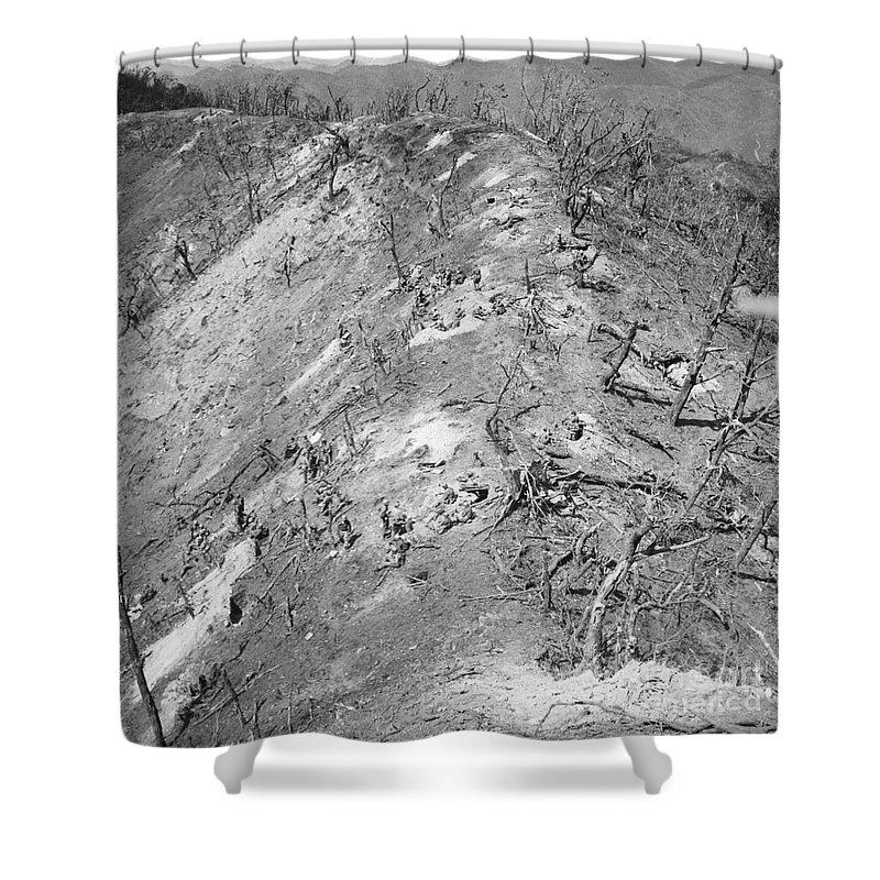 1951 Shower Curtain featuring the photograph Korean War: Bloody Ridge by Granger
