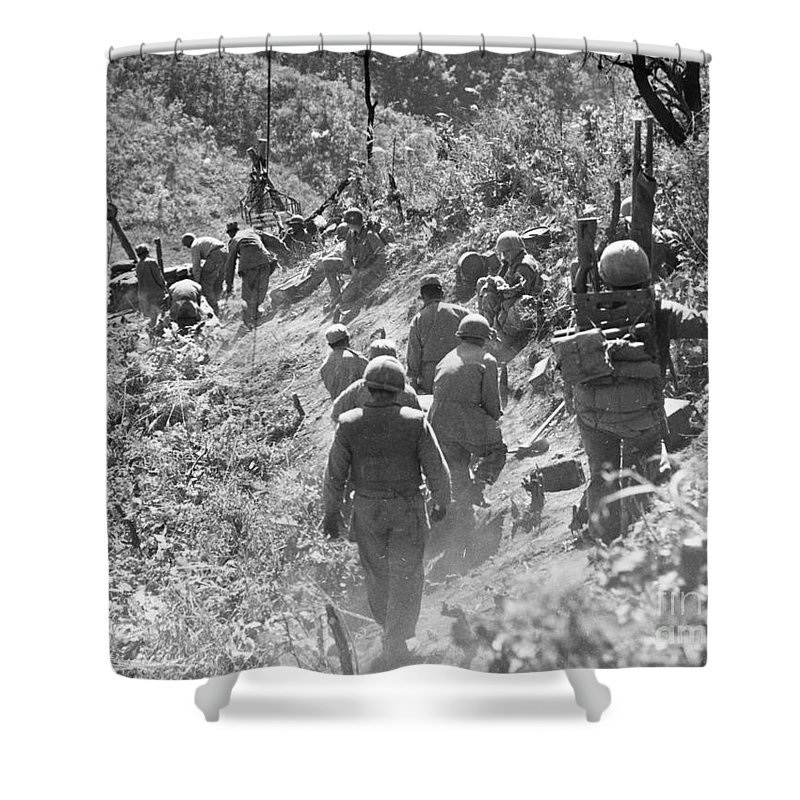 1952 Shower Curtain featuring the photograph Korean War: Triangle Hill by Granger