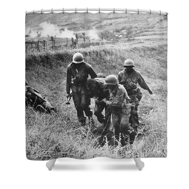 1950 Shower Curtain featuring the photograph Korean War: Wounded, 1950 by Granger