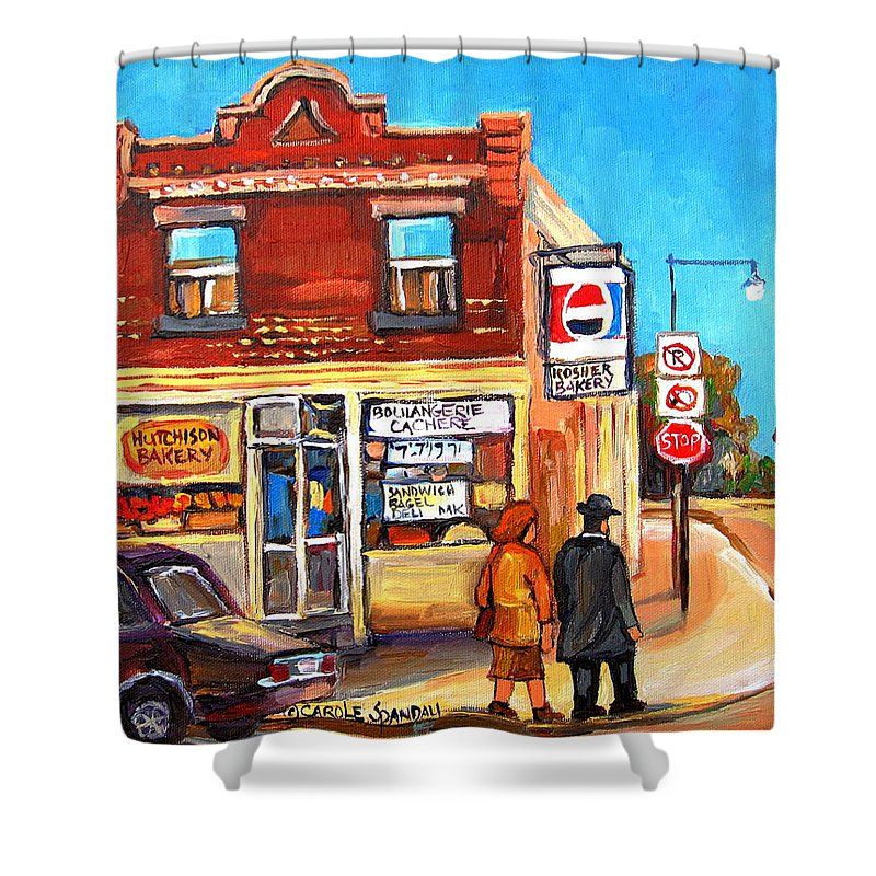 Kosher Bakery On Hutchison Shower Curtain featuring the painting Kosher Bakery On Hutchison by Carole Spandau