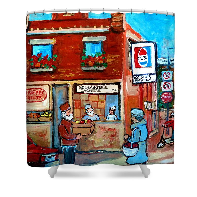 Kosher Bakery Shower Curtain featuring the painting Kosher Bakery On Hutchison Street by Carole Spandau