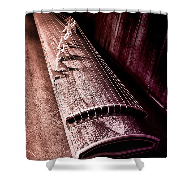 Koto Shower Curtain featuring the photograph Koto - Japanese Harp by Bill Cannon