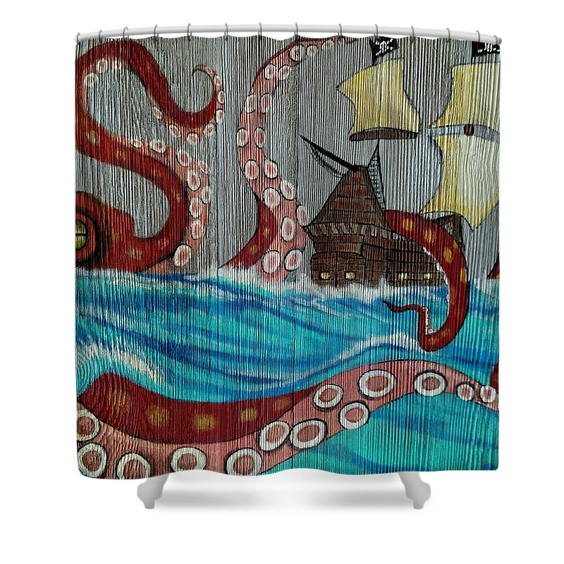 Elaine Haakenson Shower Curtain Featuring The Painting Kraken Attacking Pirate Ship By