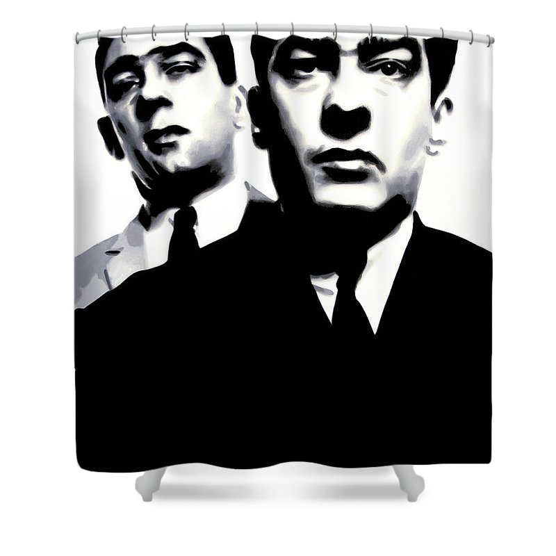 Krays Shower Curtain featuring the painting Kray Twins by Luis Ludzska