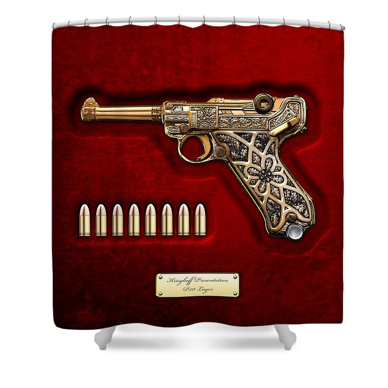 The Armory By Serge Averbukh Shower Curtain featuring the photograph Krieghoff Presentation P.08 Luger by Serge Averbukh