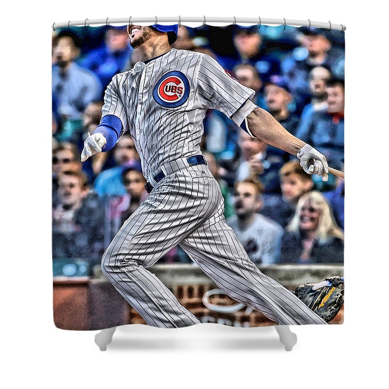 Kris Bryant Shower Curtain Featuring The Painting Chicago Cubs By Joe Hamilton