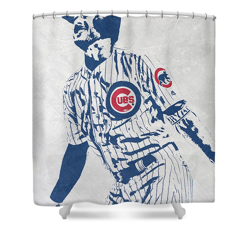 Kris Bryant Shower Curtain Featuring The Mixed Media CHICAGO CUBS PIXEL ART 1 By