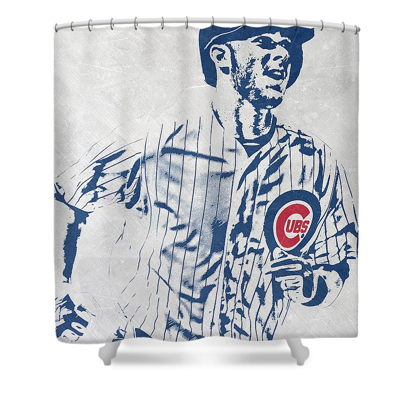 Kris Bryant Shower Curtain Featuring The Mixed Media CHICAGO CUBS PIXEL ART 2 By