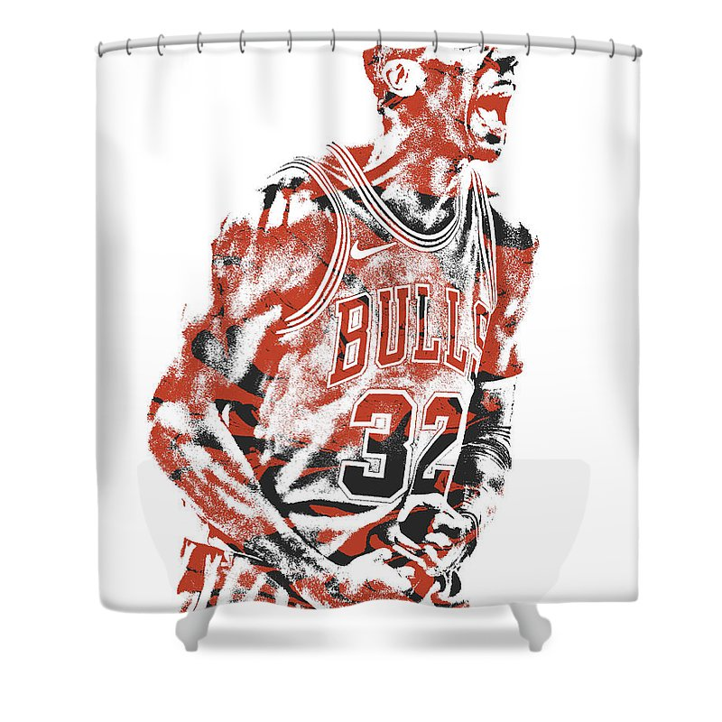 Kris Dunn Shower Curtain Featuring The Mixed Media Chicago Bulls Pixel Art 3 By