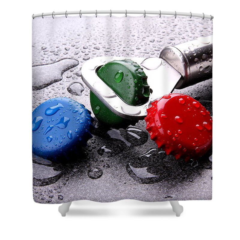 Bottle Shower Curtain featuring the photograph Kron Cork by Manfred Lutzius