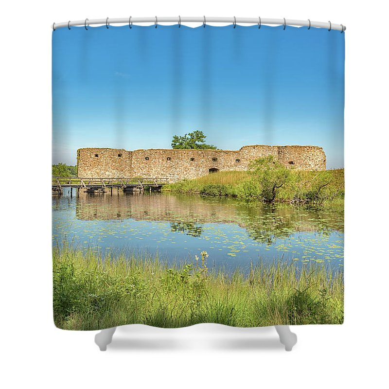 Vintage Shower Curtain featuring the photograph Kronoberg Castle Ruins by Antony McAulay