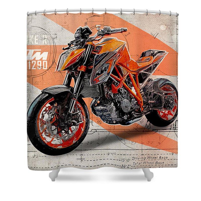 Naked Bike Shower Curtains
