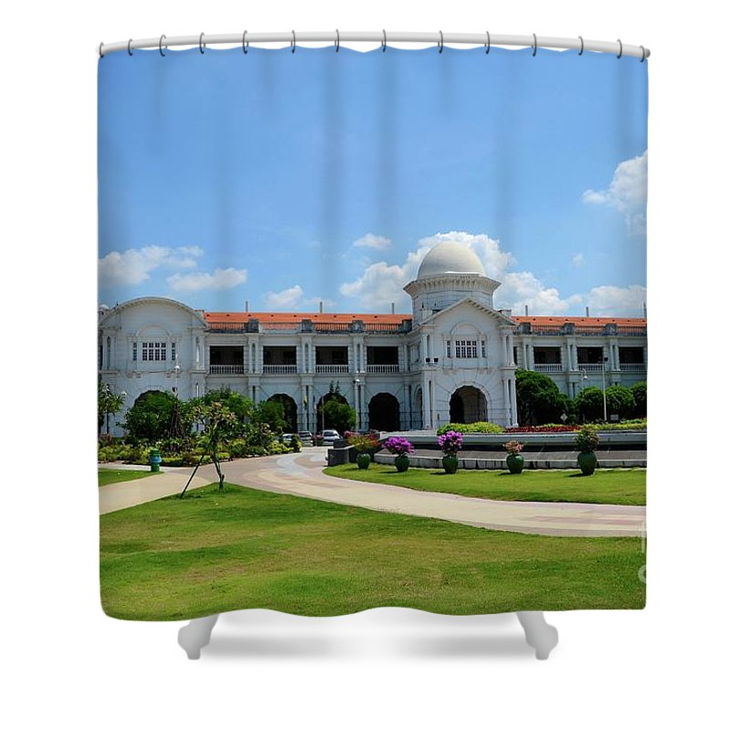 Architecture Shower Curtain Featuring The Photograph Ktm Railways Train Station Ipoh Perak Malaysia By Imran Ahmed