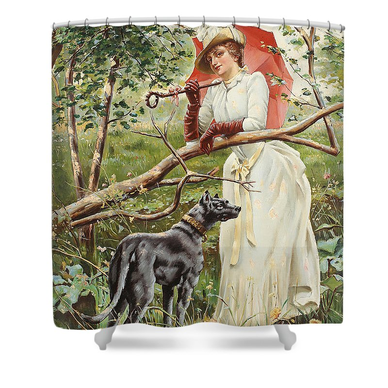 Feron Shower Curtain featuring the painting Kvinna Med Parasoll by Celestial Images