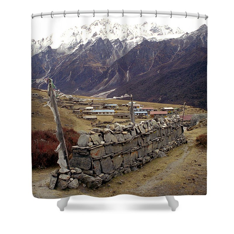 Langtang Shower Curtain featuring the photograph Kyanjin Gompa by Patrick Klauss