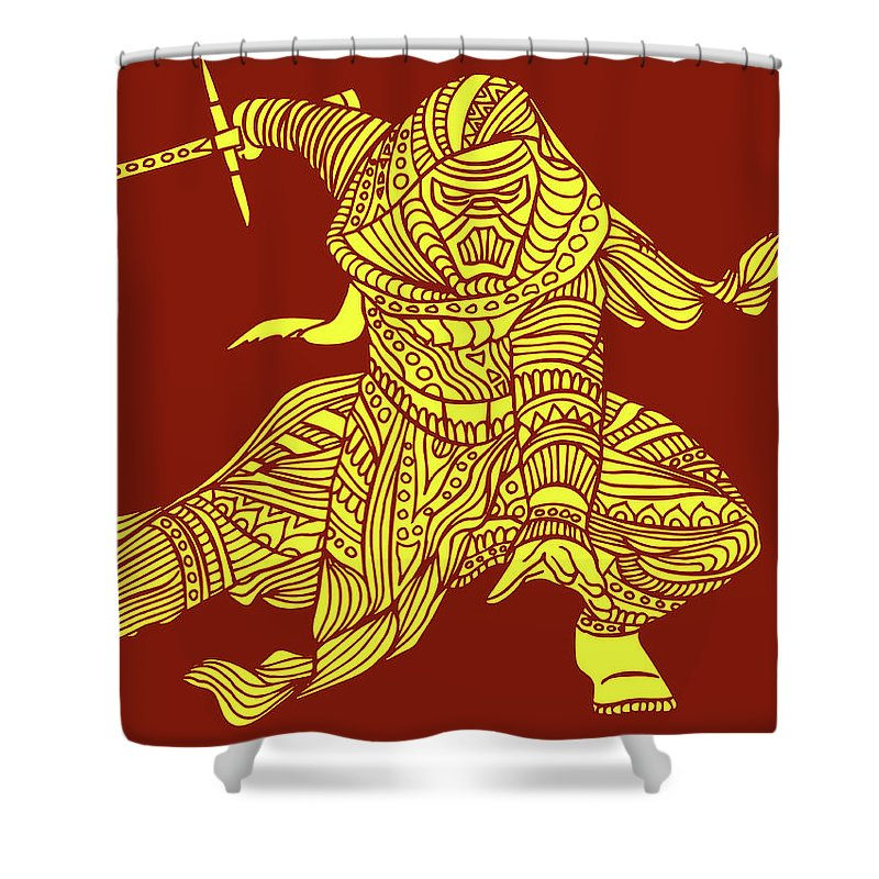 Kylo Ren Shower Curtain featuring the mixed media Kylo Ren - Star Wars Art - Red And Yellow by Studio Grafiikka