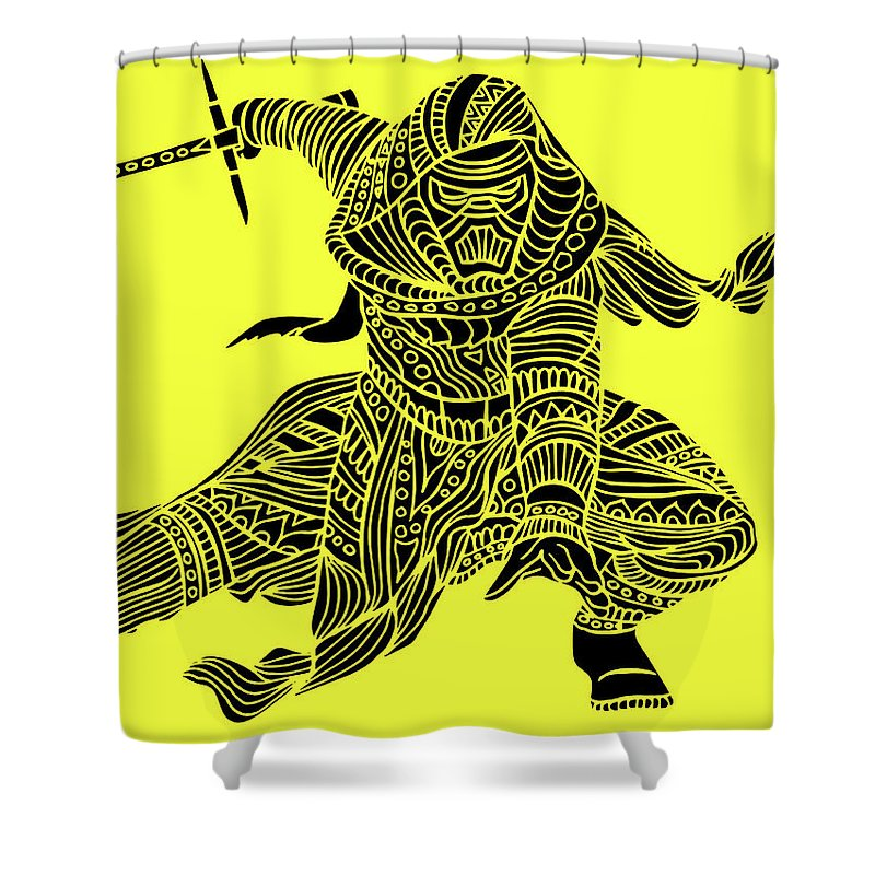 Kylo Ren Shower Curtain featuring the mixed media Kylo Ren - Star Wars Art - Yellow by Studio Grafiikka