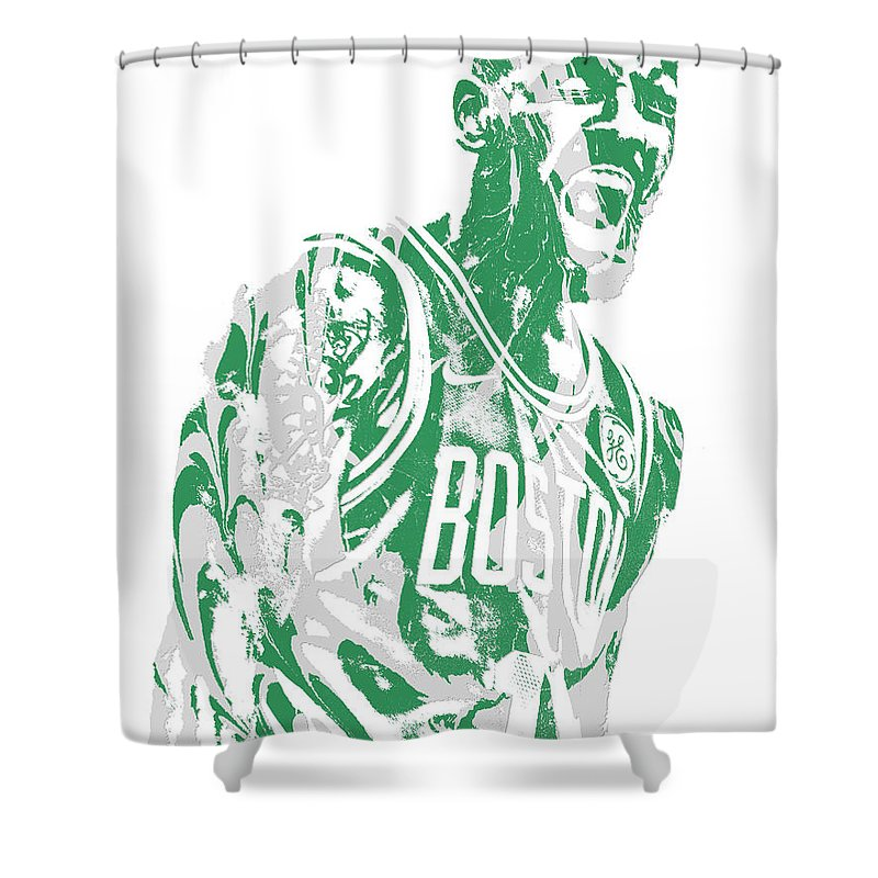 Kyrie Irving Shower Curtain Featuring The Mixed Media Boston Celtics Pixel Art 42 By