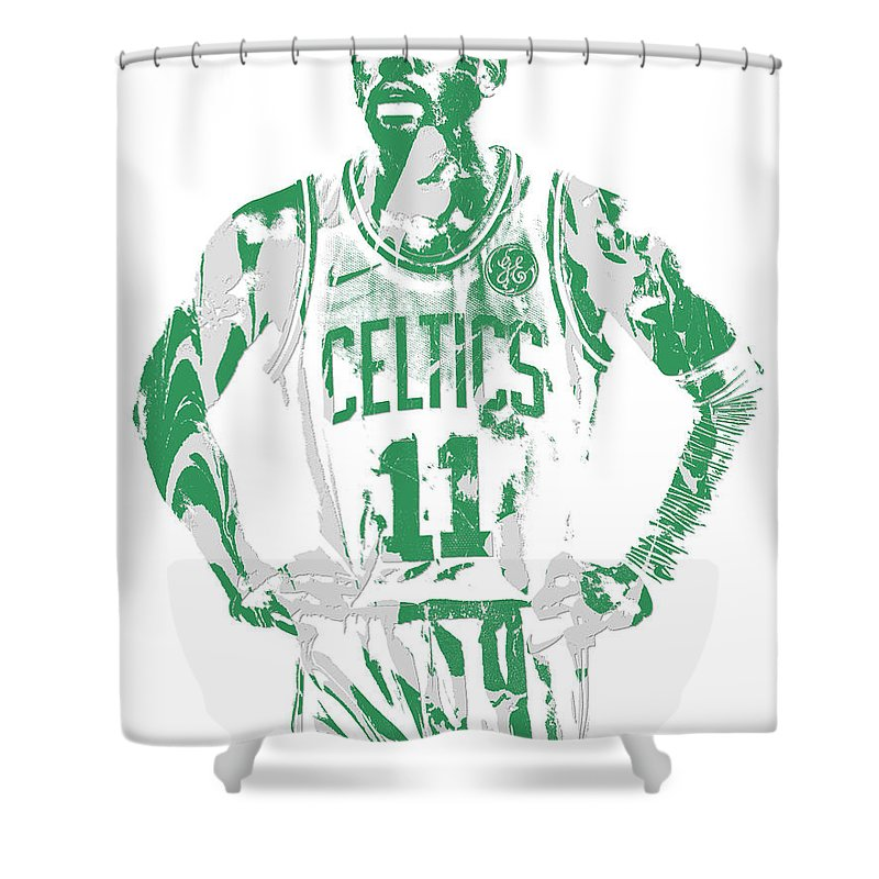 f3f90541482 Kyrie Irving Shower Curtain featuring the mixed media Kyrie Irving Boston  Celtics Pixel Art 8 by