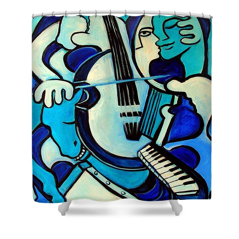 Abstract Shower Curtain featuring the painting L Amour Ou Quoi by Valerie Vescovi