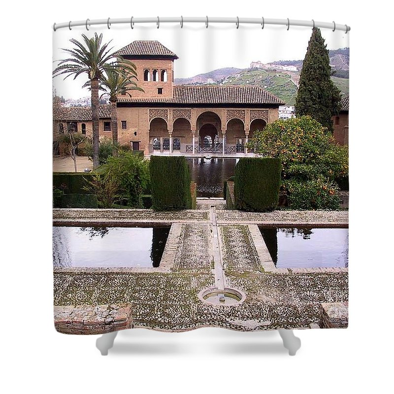 Alhambra Shower Curtain featuring the photograph La Alhambra Garden by Thomas Marchessault