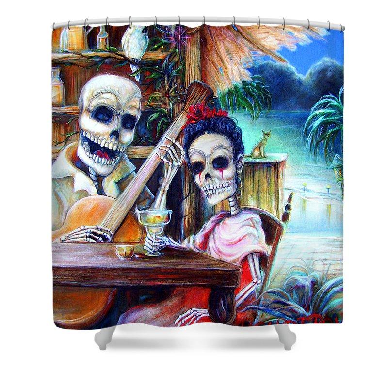 Dia De Lost Muertos Shower Curtain featuring the painting La Borracha by Heather Calderon