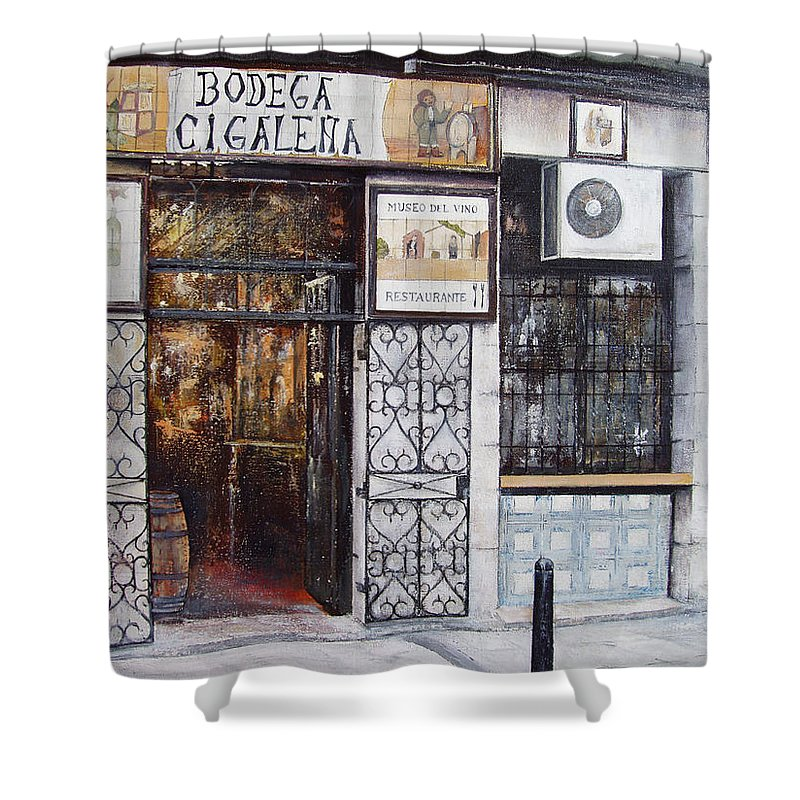 Bodega Shower Curtain featuring the painting La Cigalena Old Restaurant by Tomas Castano