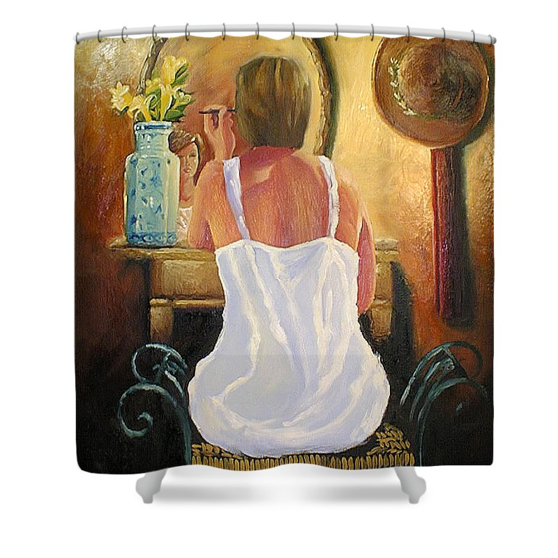 People Shower Curtain featuring the painting La Coqueta by Arturo Vilmenay
