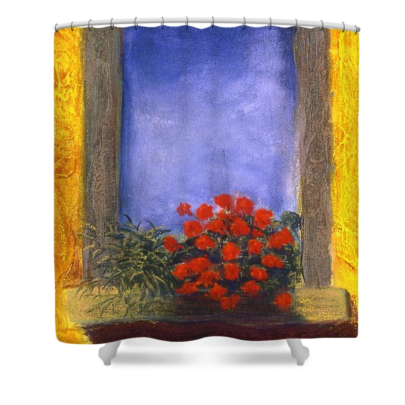Colorful Shower Curtain featuring the painting La Finstra Con I Fiori by Mary Erbert