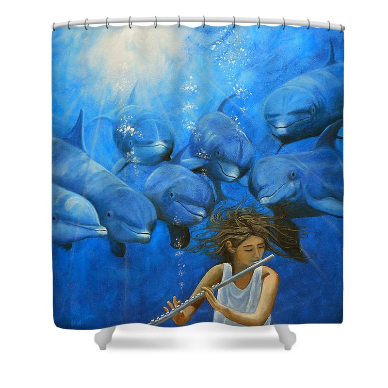 Flautista Shower Curtain featuring the painting La Flautista by Angel Ortiz