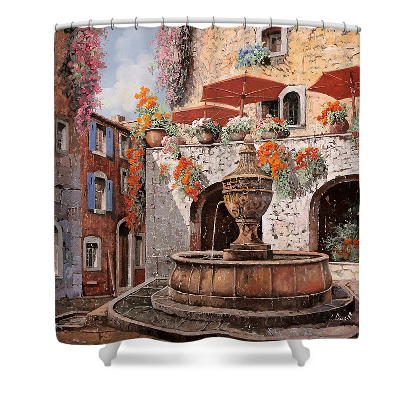 St Paul Shower Curtain featuring the painting la fontana a St Paul de Vence by Guido Borelli