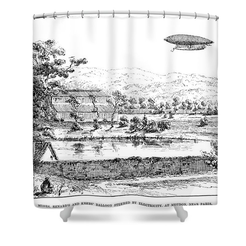 1884 Shower Curtain featuring the photograph La France Airship, 1884 by Granger