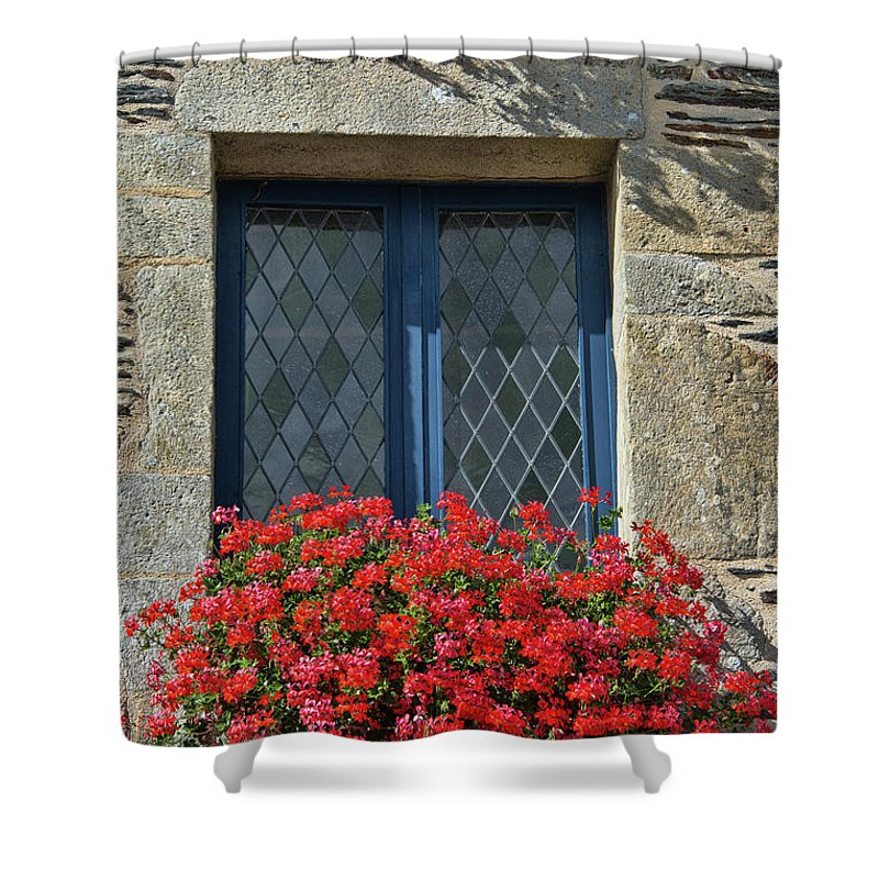 La Gacilly Shower Curtain featuring the photograph La Gacilly, Morbihan, Brittany, France, Window by Curt Rush