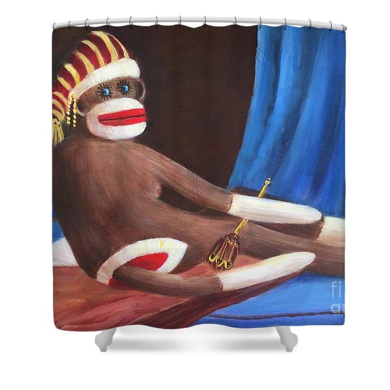 'la Grande Odalisque' Shower Curtain featuring the painting La Grande Sock Monkey by Randy Burns