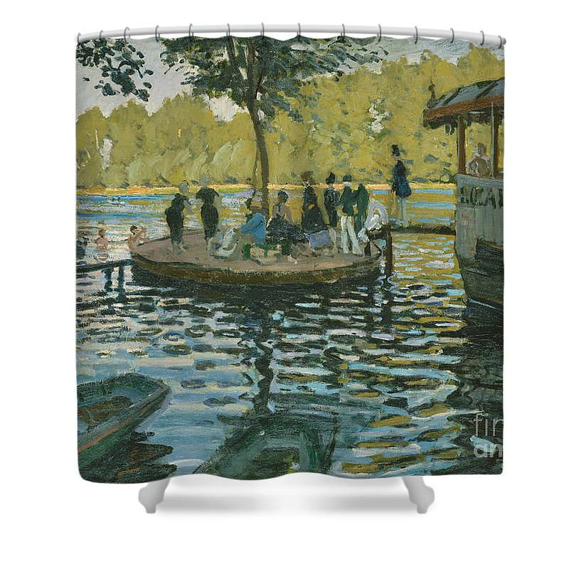 Monet Shower Curtain featuring the painting La Grenouillere, 1869 by Claude Monet