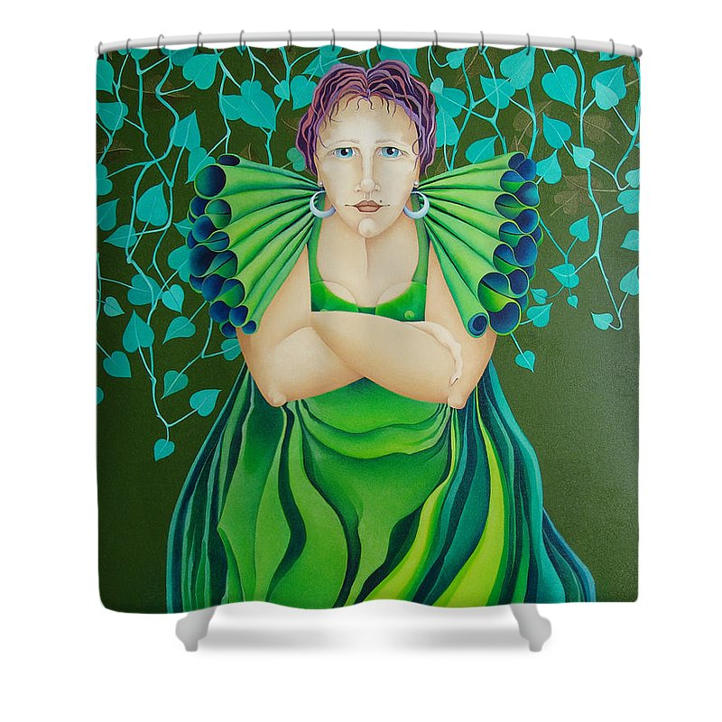 Sacha Circulism Toothpick Painting Shower Curtain featuring the painting La Jerezana 2009 by S A C H A - Circulism Technique